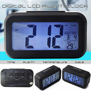new battery digital alarm clock with lcd display backlight calendar snooze uk ebay. Black Bedroom Furniture Sets. Home Design Ideas