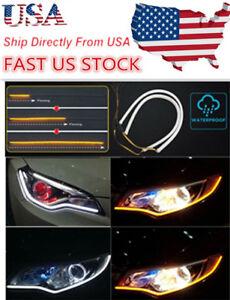 US-60CM-LED-White-Car-DRL-Daytime-Running-Lamp-Strip-Light-Flexible-Soft-Tube