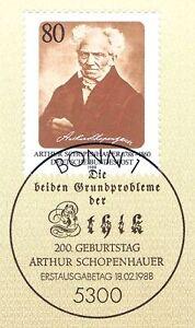 BRD-1988-Arthur-Schopenhauer-Nummer-1357-mit-Bonner-Ersttagsstempel-1A-20-09