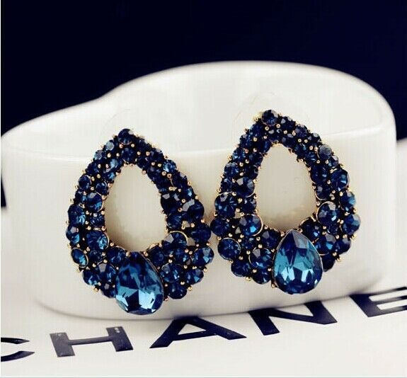 Noble Lady Fashion Cute Charm Elegant Blue Rhinestone Hollow Drop Earring Stud
