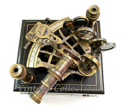 Scott Antique Brass Ship Sextant With Two Extra Telescope in Hardwood Box J