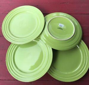 "Set Of 4 Rachael Ray 11"" Double Ridge Dinner Plates Lime Green   eBay"