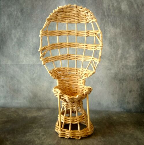 White wicker bohemian furniture for 12-inch dollhouse. Miniature Peacock chair