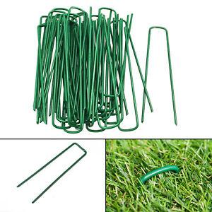 New-50-Green-Artificial-Grass-Pegs-U-Pins-Metal-Galvanised-Pegs-Staples-Weed