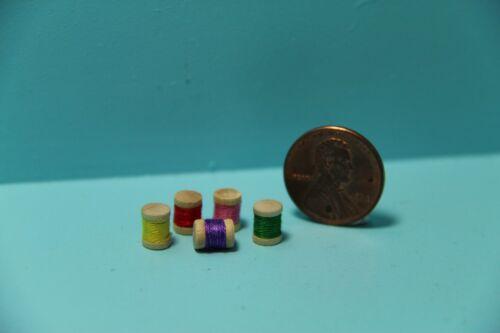 Set of 5 ~ IM65443 Dollhouse Miniature Sewing Spools of Thread