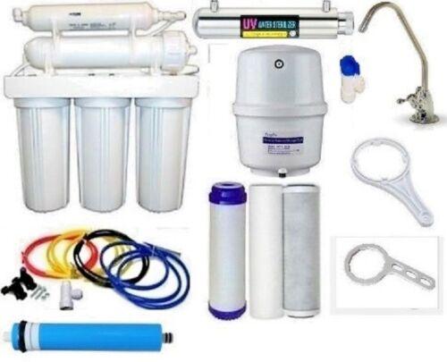 RO Reverse Osmosis Water Filter 6 Stage System UV Light Sterilizer 100 GPD