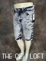 Mens Premium Style Jean Shorts Light Blue Wash With Fades Rips Urban Hip Hop