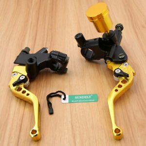 Universal-Gold-Motorbike-Brake-Clutch-Master-Cylinder-Levers-Reservoir-22mm