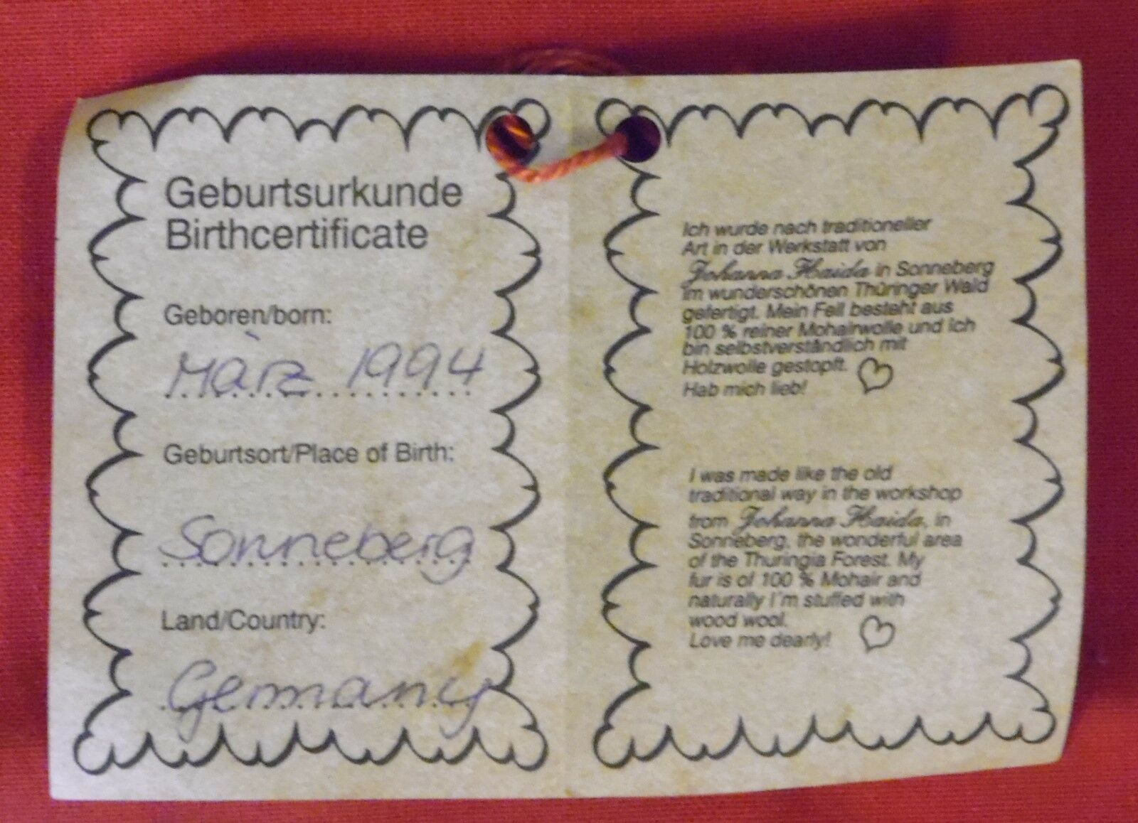 Teddybaer con brummstimme, olivenschorsch, Johanna Haida Haida Haida orsos, 30 CM, 1994 9d244b