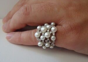 LADIES-PEARL-RING-W-WHITE-PEARLS-amp-ACCENTS-SZ-5-9-925-STERLING-SILVER