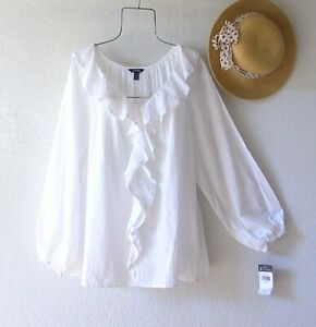 New-66-White-Peasant-Blouse-Shirt-Cotton-Lace-Ruffle-Plus-Size-Boho-Top-1X