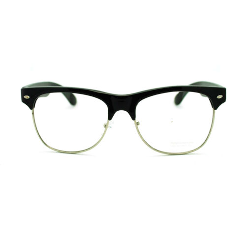 Unisex 20s Hipster Classic Retro Nerdy Geek Half Horn Rim DJ Optical Eye Glasses