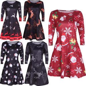 100% authentic 715b1 d820e Details zu DE Damen XMAS Kleider Party Weihnachtskleid Santa Mode  Trägerkleid Minikleid Neu
