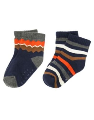 GYMBOREE PORTLAND PLAID ZIG ZAG N STRIPE 2pr OF BOYS SOCKS 6 12 24 2 3 4 5