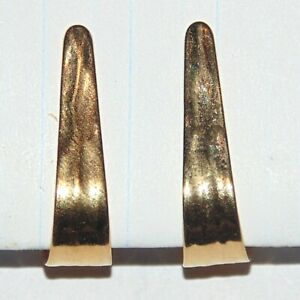 Vintage-signed-Napier-textured-gold-tone-wedge-elongated-hoop-clip-earrings