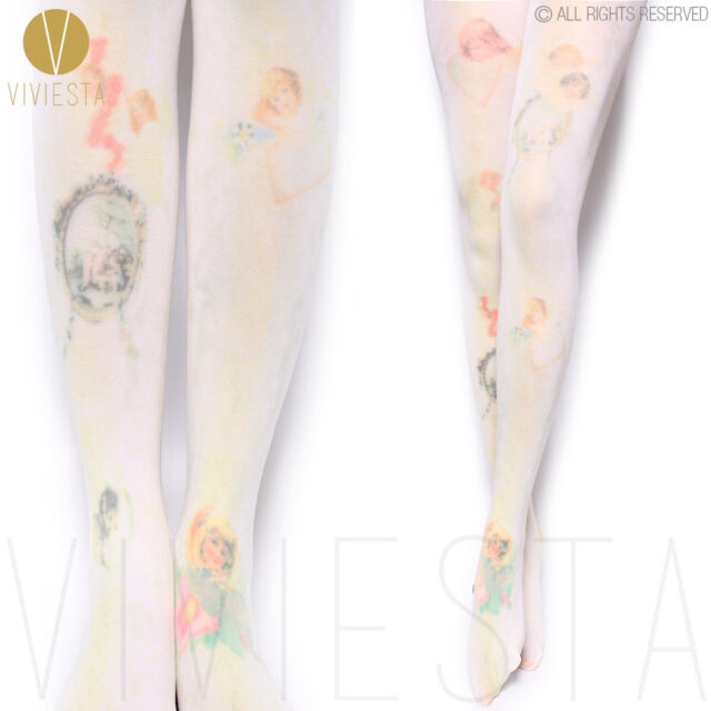 OIL PAINTINGS PRINTED OPAQUE TIGHTS 80D Girls' Cute Harajuku Lolita Pantyhose