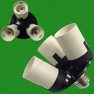1x E27 To 3e27 Bombilla Socket Adaptador Divisor Fotografía Luz Base Stock De Ru Excelente Calidad