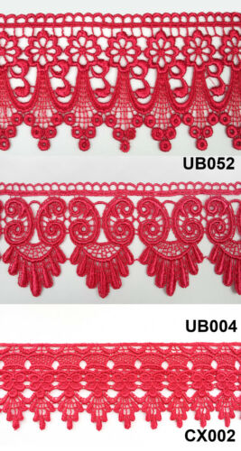 """3/"""" Crimson Red Floral Embroidered Venice Lace Trim Guipure Trimming By Yard"""