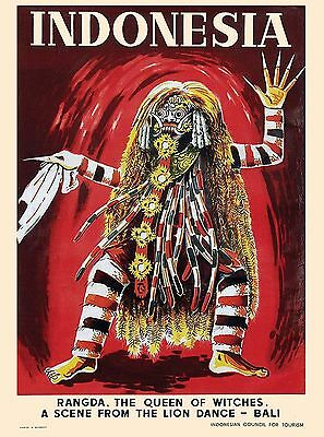 Bali Indonesia Rangda, Queen of Witches Vintage Travel Advertisement Art Poster