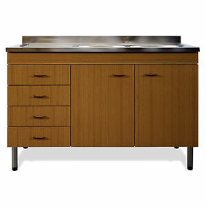 Lavello da cucina completo di mobile sottolavello teak 120 cm ...
