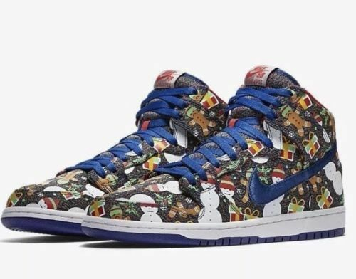 3y Nike SB Dunk High Multicolor Ao1557 446 Christmas Ugly Sweater Snowman  Shoes