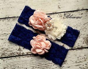 Bridal Garter Set Toss Garter Champagne and Navy Blue Garter Shabby Flower Garters Keepsake Garter Wedding Garter Wedding Garter Set