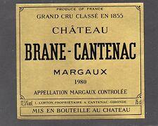 MARGAUX 2E GCC VIEILLE ETIQUETTE CHATEAU BRANE CANTENAC 1980             §18/05§