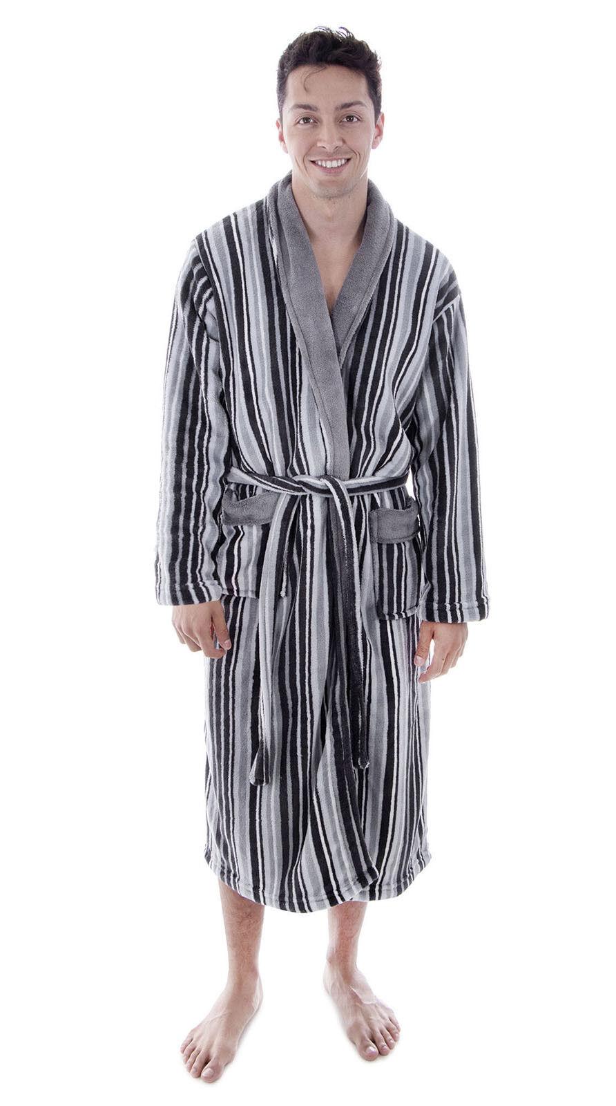 Fashion Men's Robe Fluffy Shawl Collar Warm Long Sleeve Bathrobe Sleepwear