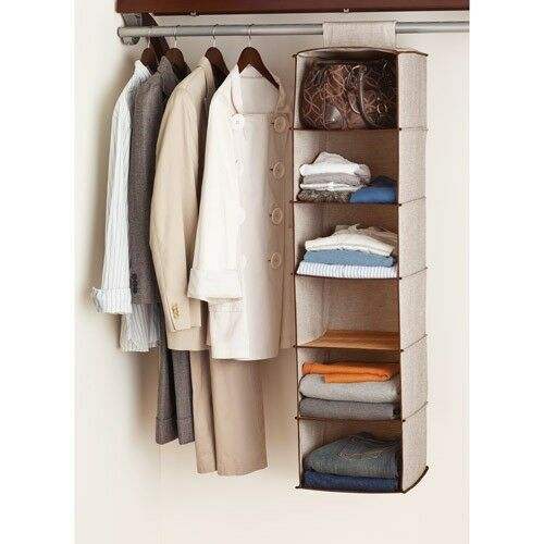 Canopy 6 Shelf Hanging Closet Organizer Rich Brown/fresh Ivory   EBay