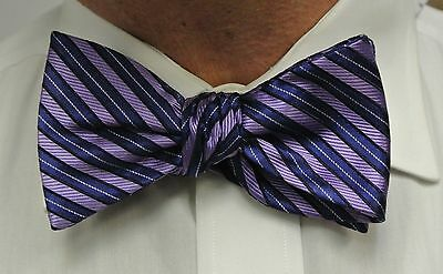 "Bow Tie Men Silk Blue Purple Striped SELF TIE Bowtie 2.5"" wide"