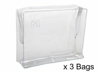 3 x HOLIDAY AIR TRAVEL TOILETRIES BAGS - Clear Plastic Airline Airport Bag