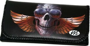 SKULL Wings & Glasses Tobacco Cigarette Smoking Paper Pouch Case Bag Holder