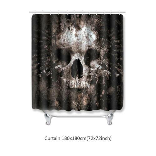 Skull Halloween Shower Curtain And Bath Mat Set Waterproof Bathroom Fabric