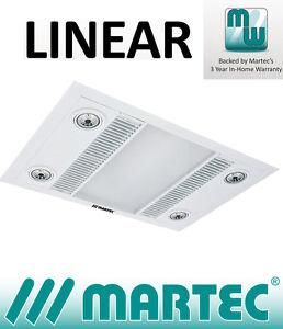 Martec Linear White Led 3 In 1 Bathroom Heater Exhaust Fan Light Mbhl1000w Ebay