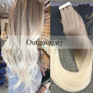 Brazilian Balayage Ombre Medium Brown Blonde Remy Tape In Human Hair