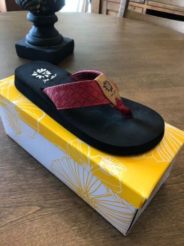 Yellow Box Cocoa Red Flip Flop NIB Choose Size