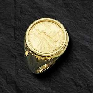22K-FINE-GOLD-1-10-OZ-US-LIBERTY-COIN-in-14k-gold-Ring-20-MM