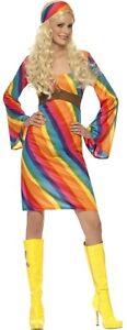 Ladies-Rainbow-Hippy-Hippie-1960s-60s-70s-Fancy-Dress-Costume-UK-8-22-Plus-Size