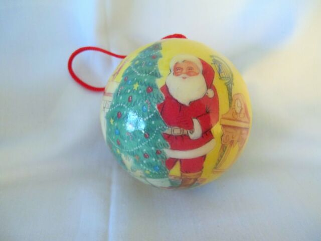 Details About Vintage Paper Mache Old Fashioned Santa Xmas Tree Ball Christmas Ornament