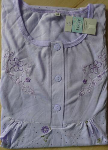 ROMESA Chemise De Nuit Manches Courtes Motif Floral Violet Bleu Abricot Rose Taille M L XL Neuf