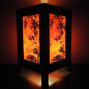 Asian-Oriental-Japanese-Bamboo-Dawning-Art-Bedside-Table-Lamp-Wood-Shades-Lights