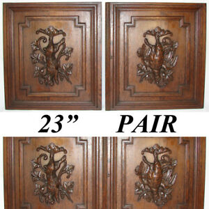 "Pair Antique Victorian 25"" Carved Architectural Furniture Doors Panels Hunt"