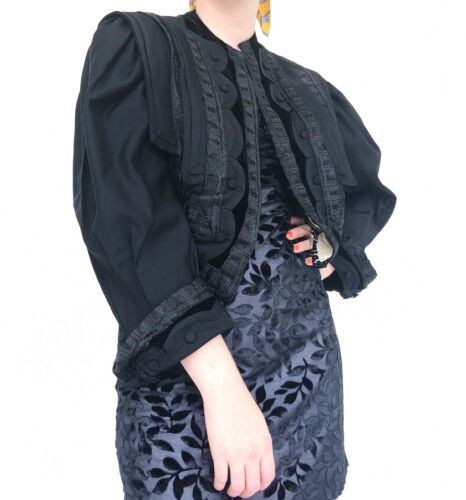 Vintage Victorian Late 1800s black cropped embroid