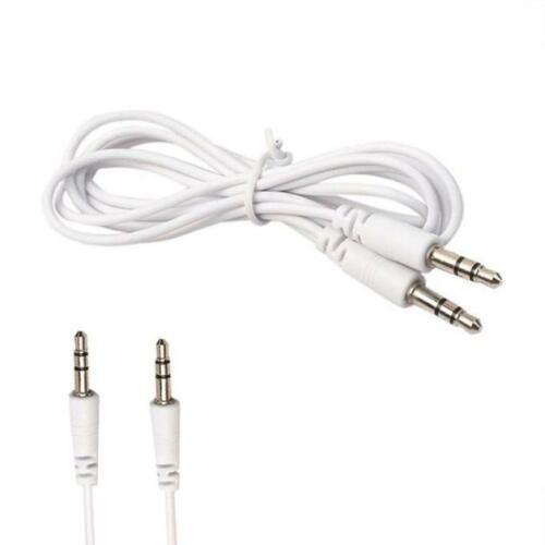 White 3.5mm Jack Male to Male Stereo AUX Cable 3ft//1m Universal Auxillary Cord