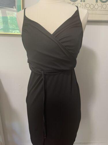 1990s Does 1970s Vintage Black Slinky Dress