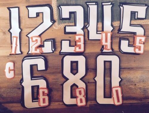 White-Black Orange Hockey Jersey Back+Sleeve Tackle Twill Number Set Kit 019