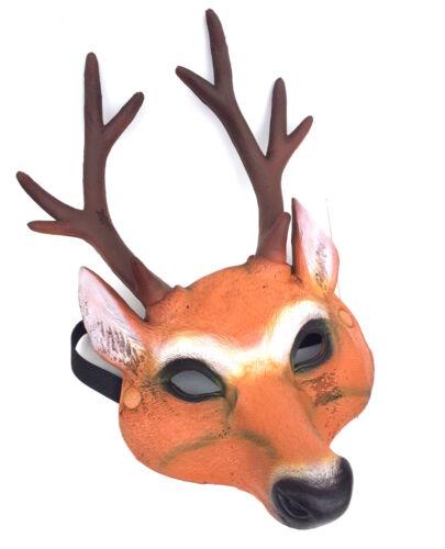 Latex Deer Stag Doe Mask Half Face Cosplay Halloween Costume Furry Fancy Dress