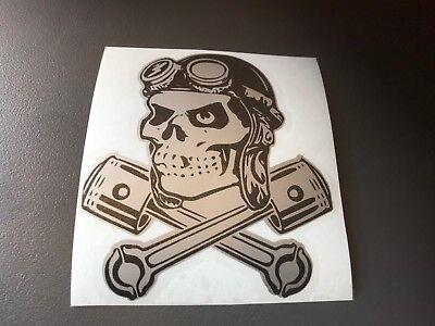 STICKER 13 skull TETE DE MORT MAQUETTE MINIATURE MODELISME noir sur argent