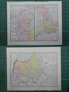 Scotland england france vintage original 1895 crams world atlas map image is loading scotland england france vintage original 1895 crams world gumiabroncs Image collections