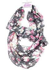 Infinity style Scarf  neck Wrap Black pink red rose flower print design NWT